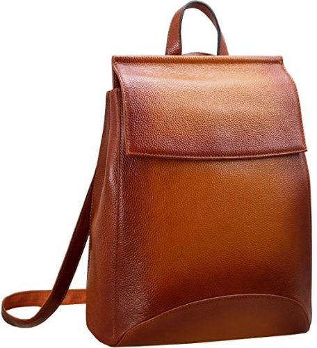 Heshe Women's Leather Backpack Casual Style Flap Backpacks