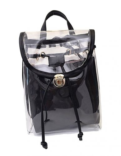 Jesdo Womens 2 in 1 Clear Drawstring Backpack