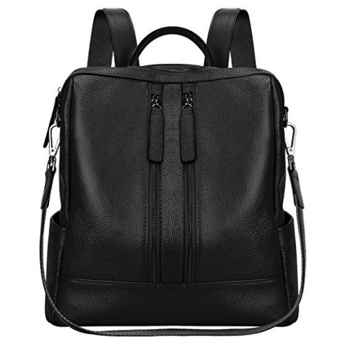 S-ZONE Lightweight Women Genuine Leather Backpack