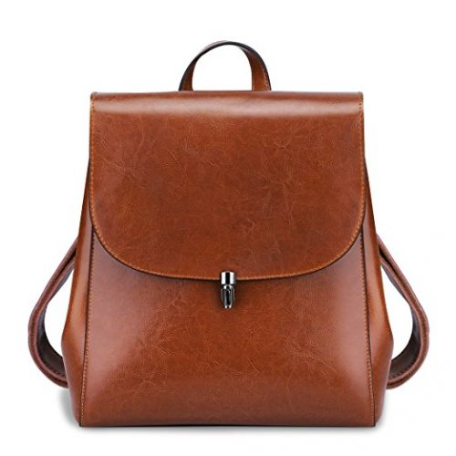 S-ZONE Women Girls Ladies Leather Backpack Purse