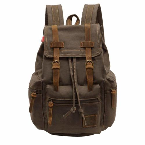P.KU.VDSL-AUGUR SERIES Vintage Canvas Leather Backpack
