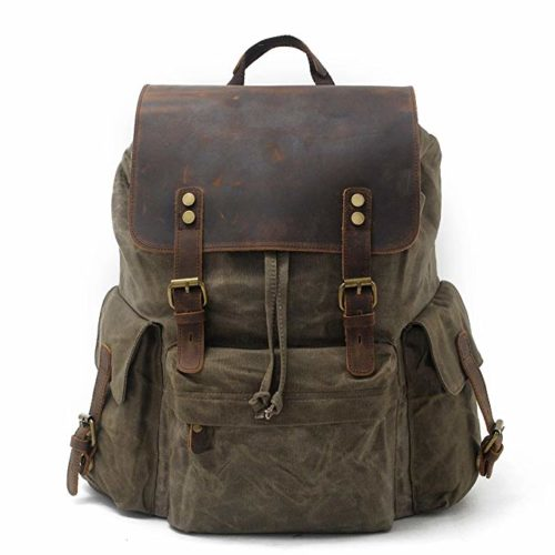 SUVOM Vintage Canvas Leather Backpack
