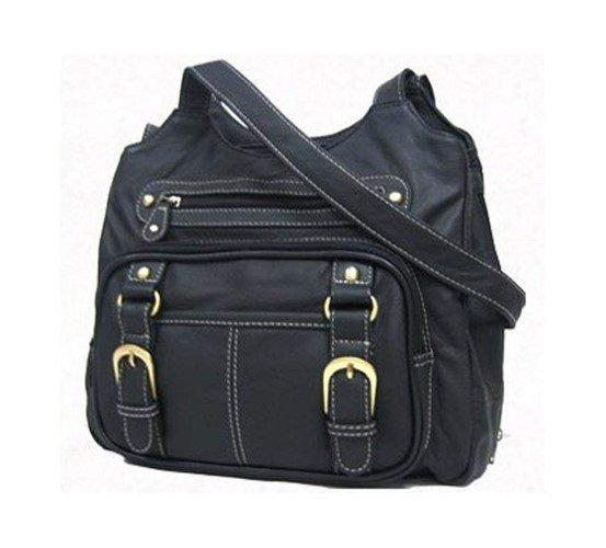 Roma Leathers Black Leather Pistol Concealment Shoulder Bag