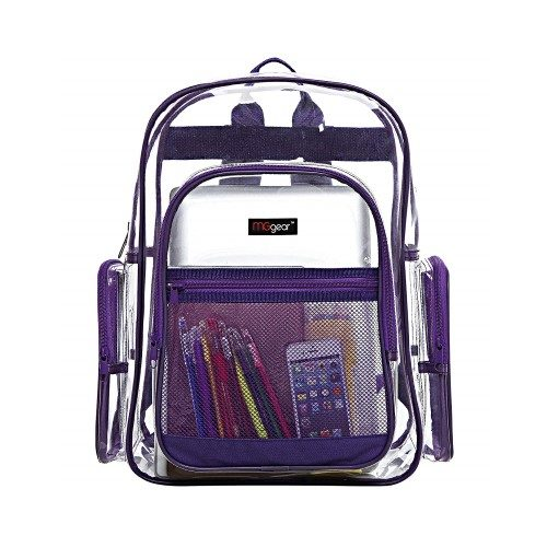 MGgear Clear Transparent PVC Multi-pockets School Backpack